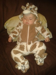 And if you're still not happy, here's Izzie asleep in a giraffe onesie to cheer you up!
